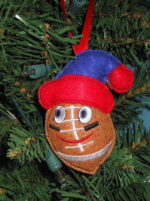 In The Hoop Christmas Football Ornament Embroidery Machine Design - Newfound Applique
