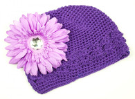Purple Crochet Cap / Purple Flower