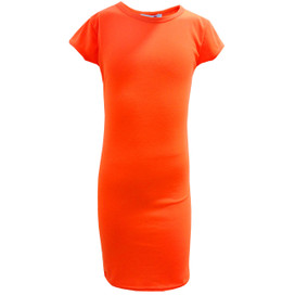 Minx Girls Bodycon Style Neon Orange Midi Dress Neon Orange 7-13 Years