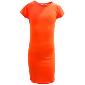 Minx Girls Bodycon Style Neon Orange Midi Dress Neon Orange 7-13 Years
