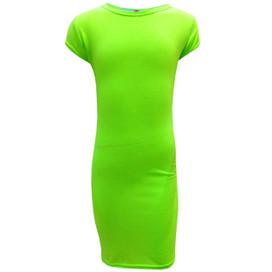 Minx Girls Bodycon Style Neon Green Midi Dress Neon Green 7-13 Years