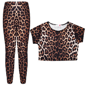 Minx Girls Leopard Printed Crop Top And Leggings Set Brown 7-13 Years