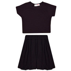 Minx Girls Plain Crop Top And  Skirt Set  Black 7-13 Years