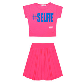 Minx Girls Selfie Crop Top & Skirt Set Neon Pink 7-13 Years