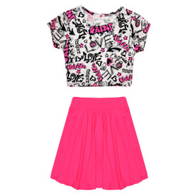 Minx Girls Scrible Crop Top & Skirt Set Neon Pink/Cream 7-13 Years