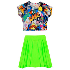 Minx Girls Comic Crop Top & Skirt Set Neon Green/Multi 7-13 Years