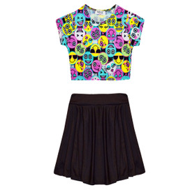 Minx Girls Emoji Print Crop Top Skirt Set Multi/Black 7-13 Years