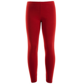 Girls Leotard Legging Cotton Stretch Full Length School Leggings Kids Stretch Leggings Red  Size 2-13