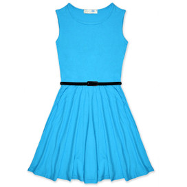 Minx Girls New Plain Fitted Flared Belt Dress Kids Plain Sleeveless Girls Skater Dress Turquoise  Age 7-13 Years