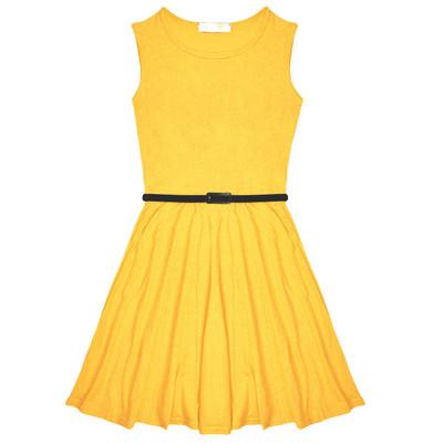 Minx Girls New Plain Fitted Flared Belt Dress Kids Plain Sleeveless Girls Skater Dress Yellow  Age 7-13 Years