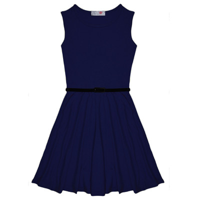 Minx Girls New Plain Fitted Flared Belt Dress Kids Plain Sleeveless Girls Skater Dress Navy Blue  Age 7-13 Years