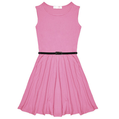 Minx Girls New Plain Fitted Flared Belt Dress Kids Plain Sleeveless Girls Skater Dress Light Pink  Age 7-13 Years