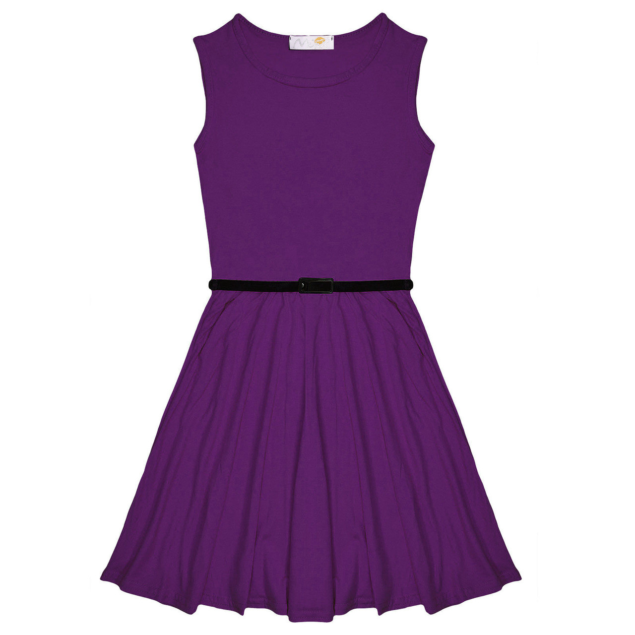 Minx Girls Plain Sleeveless Skater Dress with Free Belt ...