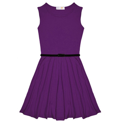 Minx Girls New Plain Fitted Flared Belt Dress Kids Plain Sleeveless Girls Skater Dress Purple  Age 7-13 Years