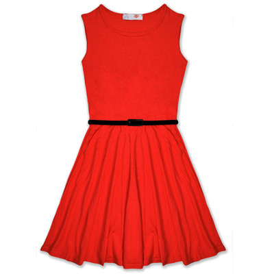 Minx Girls New Plain Fitted Flared Belt Dress Kids Plain Sleeveless Girls Skater Dress Red  Age 7-13 Years