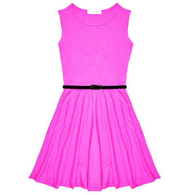 Minx Girls New Plain Fitted Flared Belt Dress Kids Plain Sleeveless Girls Skater Dress Neon Pink  Age 7-13 Years