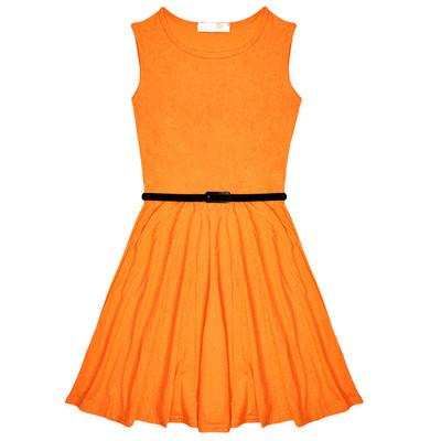 Minx Girls New Plain Fitted Flared Belt Dress Kids Plain Sleeveless Girls Skater Dress Neon Orange  Age 7-13 Years