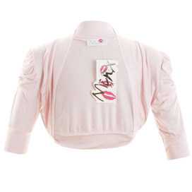 Girls Plain Colour Ruche Sleeve Bolero Shrug Pink