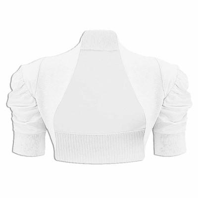 Girls Plain Colour Ruche Sleeve Bolero Shrug White