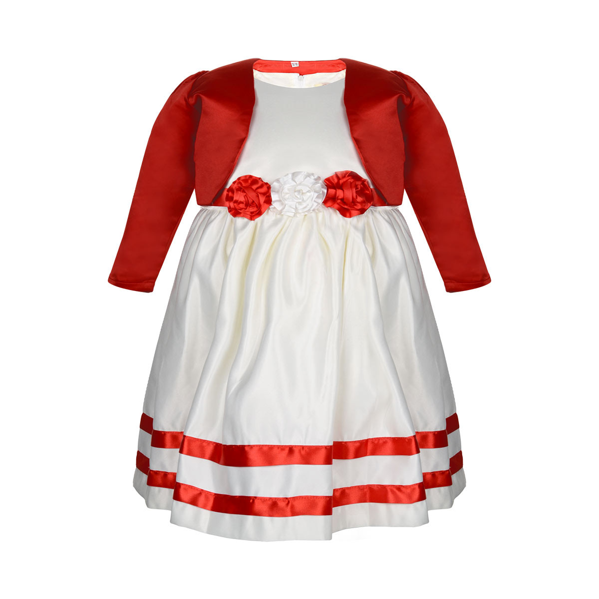 Girls Fabric Floral Wedding Dress With Shrug Red Cream 3 12 Years