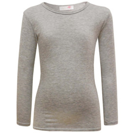 Girls Minx Plain Full Sleeve Top Grey 5-13 Years