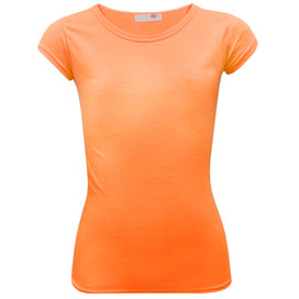 Minx Plain Neon Short Sleeve Girls Top Neon Orange 7-13 Years