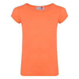 Girls Short Sleeve Plain Top Neon Orange 7-13 Years