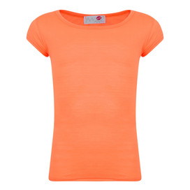 Minx Girls Plain T-Shirt Neon Orange 7-13 Years