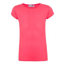 Minx Girls Plain T-Shirt Neon Pink 7-13 Years