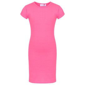 Minx Plain Bodycon Girls Midi Dress Neon Pink 7-13 Years