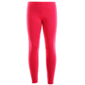 Girls Plain Color Cotton Leggings Cerise 2-6 Years