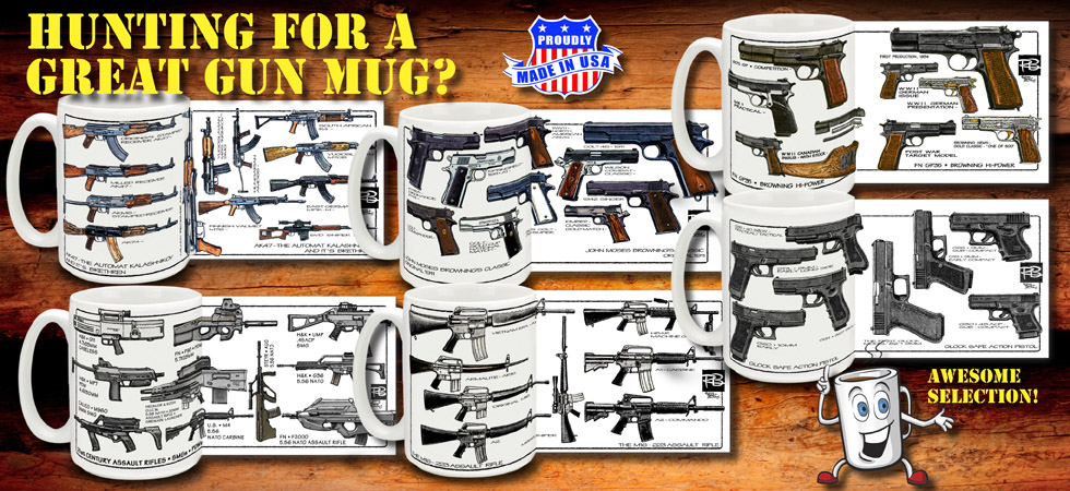 Gun Coffee Mugs Glock AK47 M1911 Automatic Rifle FAL Luger Mug