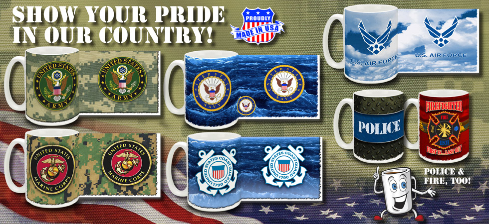 Military Coffee Mugs Army Marines Navy Air Force Coast Guard Police and Fire Mug
