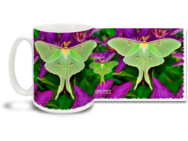 The lime-green Luna Moth is found in North America from east of the Great Plains in the United States to northern Mexico and from Saskatchewan eastward through central Quebec to Nova Scotia in Canada. It is one of the largest moths in North America. Enjoy the cool tones of a summer's twilight on this pretty Luna Moth mug. Bright, vivid colors on this 15 oz Luna Moth Coffee Mug will make this dishwasher and microwave safe coffee cup a coffee time favorite!