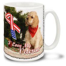 Give the gift of warm and fuzzy with this friendly puppy letting us know how much United States Veterans are loved! Cute puppy and bright colors on this 15 oz I Love My Vet Mug will make this durable, dishwasher and microwave safe coffee cup any Veteran's morning favorite!