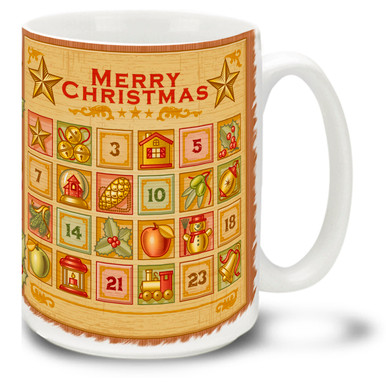 Count down the days till Christmas with this happy and bright Advent Calendar mug! Vintage styling and bright colors on this 15 oz Christmas Advent Calendar Mug will make this durable, dishwasher and microwave safe coffee cup a welcome gift for the holidays!