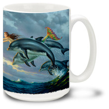 A beautiful mermaid mug, swimming with her friends the dolphins and seagulls.  A beautiful ocean fantasy for lovers of mermaids by famed pirate and adventure artist Don Maitz. 15oz Mermaid Coffee Mug is dishwasher and microwave safe.
