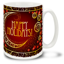 Make their day merry and bright with this Christmas Traditions Happy Holidays mug! Elegant styling and bright colors on this 15 oz Happy Holidays Mug will make this durable, dishwasher and microwave safe coffee cup a welcome gift for the holidays!