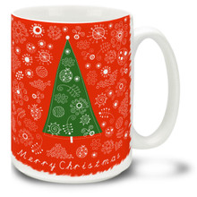 "Make it anything but a ""Silent Night"" with this Christmas Traditions Retro Tree mug! Fifties styling and Merry Christmas message on this 15 oz Retro Christmas Tree Mug will make this durable, dishwasher and microwave safe coffee cup a welcome gift for the holidays!"
