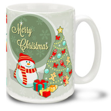 Chill out in style with this Christmas Traditions Snowman and Tree mug! Keep cool for the holidays with a cheery Merry Christmas message on this 15 oz Christmas Snowman Mug. Durable, dishwasher and microwave safe coffee cup makes a welcome gift for the holidays!
