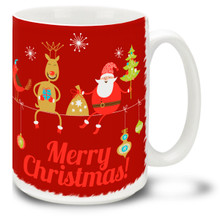 Chill out in style with this Christmas Funky Santa Just Chillin' mug! Keep cool for the holidays with Santa, a Reindeer, and a cheery Merry Christmas message on this 15 oz Christmas Santa Mug. Durable, dishwasher and microwave safe coffee cup makes a welcome gift for the holidays!