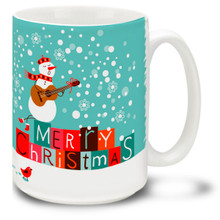 Sing a happy Holiday song with this Christmas Funky Santa Snowman Serenade mug! Bright colors and a traditional Merry Christmas message make this 15 oz Christmas Snowman Mug a favorite. Durable, dishwasher and microwave safe coffee cup makes a welcome gift for the holidays!