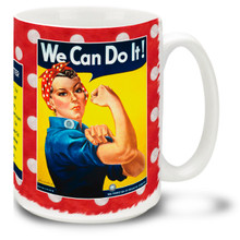 Rosie the Riveter is a cultural icon of the United States, representing the American women who worked in factories during World War II, many of whom produced munitions and war supplies. Let them know YOU can do it with this colorful Rosie the Riveter coffee mug. 15oz mug is durable, dishwasher and microwave safe.
