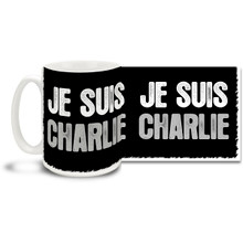 "Stand with the voice of freedom and those who lost their lives in the attack on France's Charlie Hebdo offices with a Je Suis Charlie mug with stark black and white styling. Translated this mug says ""I Am Charlie""! Join the call for freedom of expression with this timely Je Suis Charlie coffee mug. 15oz mug is dishwasher and microwave safe."