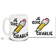 """Stand with the voice of freedom and those who lost their lives in the attack on France's Charlie Hebdo offices with a Je Suis Charlie mug with the mighty pencil and modern styling. Translated this mug says """"I Am Charlie""""! Join the call for freedom of expression with this timely Je Suis Charlie coffee mug. 15oz mug is durable, dishwasher and microwave safe."""