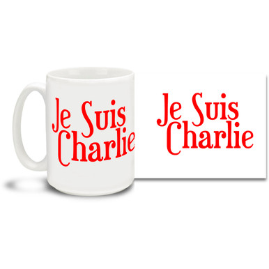 """Stand with the voice of freedom and those who lost their lives in the attack on France's Charlie Hebdo offices with a Je Suis Charlie mug featuring bold red letters. Translated this mug says """"I Am Charlie""""! Join the call for freedom of expression with this timely Je Suis Charlie coffee mug. 15oz mug is durable, dishwasher and microwave safe."""