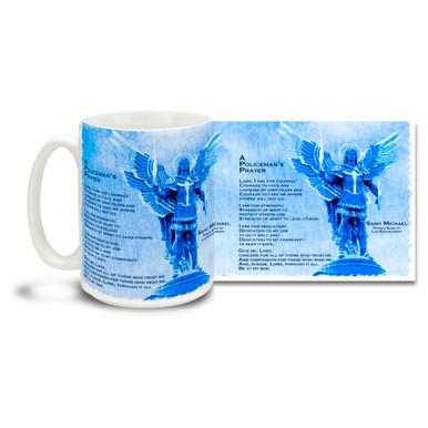 Popular Policeman's Prayer and Saint Michael, Archangel Patron Saint of Police adorn this mug! 15oz St Michael Angel Police Protection and Prayer Coffee Mug is dishwasher and microwave safe.