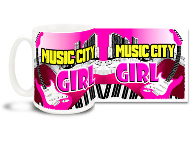 Nashville, Tennessee women have music in their voices! Nothing is prettier than a Music City Girl. Enjoy some sweet country music with a Music City Girl mug! 15 oz coffee Mug is dishwasher and microwave safe.