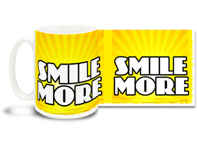 Put a smile on your face with this uplifting coffee mug! 15 oz coffee Mug is dishwasher and microwave safe
