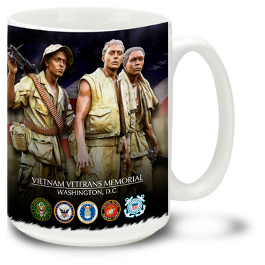 Show your pride in the United States Military with this design featuring the well-known Three Soliders sculpture by Frederick Hart, part of the Vietnam Veterans Memorial in Washington, D.C. 15oz Vietnam Mug is dishwasher and microwave safe.
